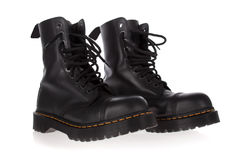 Military style black boots isolated Stock Photos
