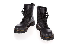 Military style black boots isolated on white Royalty Free Stock Images