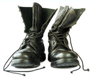 Military style black leather boots Stock Images