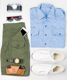 Military style casual ./ Overhead of Men's casual outfits with a. Ccessories Stock Photos