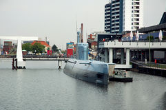 Military submarine in the city Royalty Free Stock Images