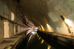 Military submarine repair dockage. Since the USSR, tonel Balaklava, Ukraine stock photography