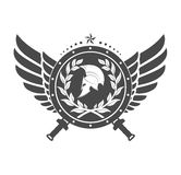 Military symbol a Spartan helmet on a board with among wings. Stock Photography