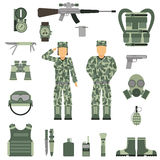 Military symbols design with weapon and uniform. vector. Stock Photo