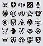 Military symbols icon set on gray Royalty Free Stock Images