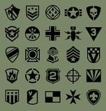 Military symbols icon set on green Royalty Free Stock Photos