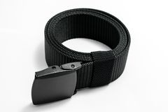 Military tactical belt. With semi-automatic buckle for connection. Isolated on white background royalty free stock photography