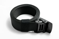 Military tactical belt. With semi-automatic buckle for connection. Isolated on white background royalty free stock photos