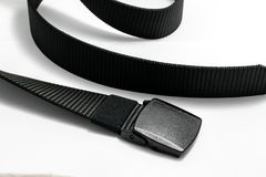 Military tactical belt. With semi-automatic buckle for connection. Isolated on white background stock photo