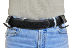 Military tactical belt with velcro fastening system, wearing on Royalty Free Stock Photo