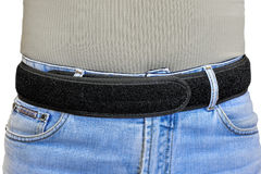 Military tactical belt with velcro fastening system, wearing on Stock Photo