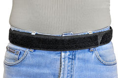 Military tactical belt with velcro fastening system, wearing on Royalty Free Stock Images