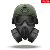 Military tactical helmet with gas mask Royalty Free Stock Photography