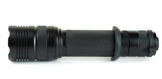 Military tactical LED flashlight, isolated Royalty Free Stock Image