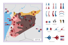 Military tactical map with icons. The conflict in Syria. Stock Images