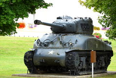Military tank. An old military USA tank from WWII (M4 - SHERMAN) outdoor in a park Stock Images