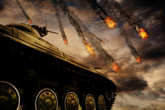 Military Tank on Battlefield Royalty Free Stock Photos
