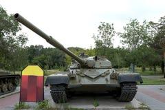 A military tank. Caterpillar of a military tank black close-up Stock Photography