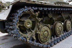 A military tank. Caterpillar of a military tank black close-up Royalty Free Stock Photography