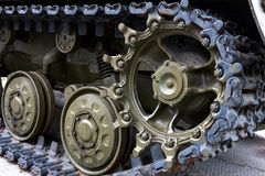 A military tank. Caterpillar of a military tank black close-up Royalty Free Stock Photo