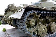 A military tank. Caterpillar of a military tank black close-up Stock Photos