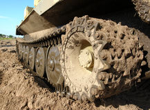 Military tank caterpillar, mudded. royalty free stock image