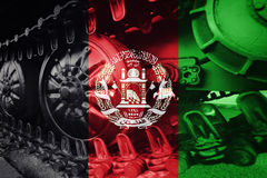 Military tank close-up Caterpillar Track with Afghanistan flag B Stock Photos