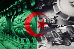 Military tank close-up Caterpillar Track with Algeria flag Backg. Round. Army Background Royalty Free Stock Photos