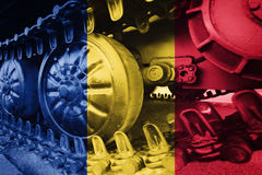 Military tank close-up Caterpillar Track with Romania flag Backg. Round. Army Background Stock Photo