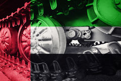 Military tank close-up Caterpillar Track with United Arab Emirat Royalty Free Stock Images
