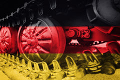 Free Military Tank Close-up Caterpillar Track With German Flag Backgr Royalty Free Stock Photography - 95587037