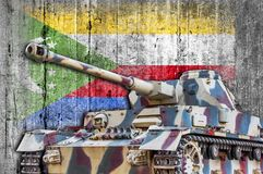 Military tank with concrete Comoros flag. Armored army attack vehicle Royalty Free Stock Photography