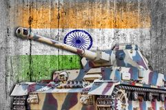 Military tank with concrete India flag royalty free stock photo