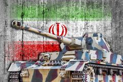Military tank with concrete Iran flag. Armored army attack vehicle royalty free stock photography