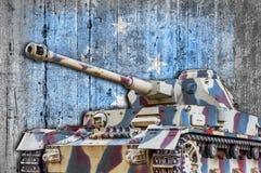 Military tank with concrete Micronesia flag Royalty Free Stock Photos