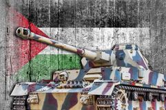 Military tank with concrete Palestine flag stock image