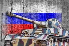 Military tank with concrete Russia flag. Armored army attack vehicle Stock Image