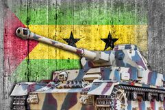 Military tank with concrete Sao Tome and Principe flag. Armored army attack vehicle Stock Photos
