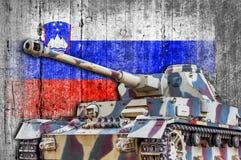 Military tank with concrete Slovenia flag stock photo