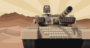 Military tank in a desert. Vector illustration. Stock Photography