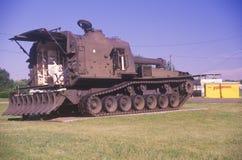 Military Tank on Display Stock Photo