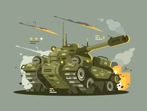 Military tank in fire. Military combat tank in fire with full of weapons. Vector flat illustration Stock Photo