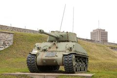 Military tank in a fort, Citadelle Of Quebec, Stock Images