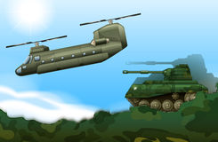 A military tank and a helicopter Royalty Free Stock Photography