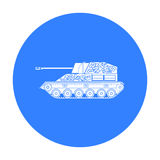 Military tank icon in black style isolated on white background. Military and army symbol stock vector illustration Royalty Free Stock Images