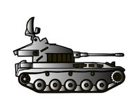 Military tank isolated on white. Armoured fighting vehicle designed for front-line combat, with heavy firepower, strong armour. Tracks providing good Royalty Free Stock Images