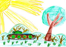 Military tank in the meadow child drawing Stock Images