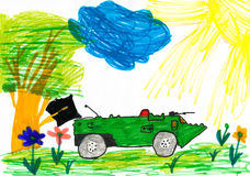 Military tank in the meadow. child drawing. Stock Photography