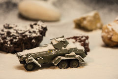 Military tank. Miniature military tank in snow Stock Images