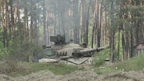 Military tank shoots on the target. Military tank prepare to battle and shoots on the target stock video
